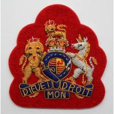 British Army RSM W.O.1 Bullion Arm Badge (Red Backing)