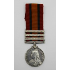 Queen's South Africa Medal (Clasps - Relief of Kimberley, Paardeberg, Driefontein) - Pte. W. Harris, 1st Bn. Welsh Regiment - Wounded 10/03/1900 (Driefontein)