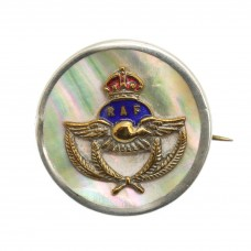 Royal Air Force (R.A.F.) Mother of Pearl and Silver Rim Sweethear