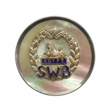 South Wales Borderers Mother of Pearl and Silver Rim Sweetheart Brooch