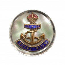 Royal Navy Mother of Pearl and Silver Rim Sweetheart Brooch