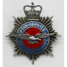 Air Force Department Fire Service Enamelled Cap Badge - Queen's Crown