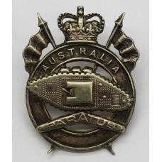 Australian Army 1st Armoured Regiment Cap Badge - Queen's Crown