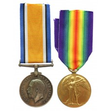 WW1 British War & Victory Medal Pair - Pte. A.U. James, Somer