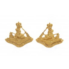 Pair of Rhodesia British South Africa Police Officer's Mess Dress Collar Badges - Queen's Crown