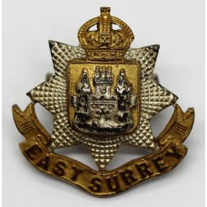East Surrey Regiment Officer's Cap Badge - King's Crown