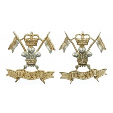 Pair of 9th/12th Royal Lancers Anodised (Staybrite) Collar Badges