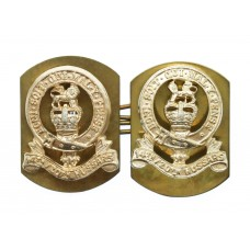 Pair of 14th/20th Hussars Anodised (Staybrite) Collar Badges