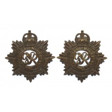 Pair of George VI Royal Army Service Corps (R.A.S.C.) Officer's Service Dress Collar Badges