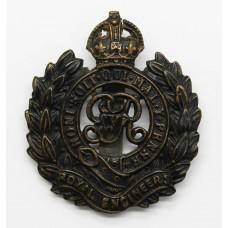 George V Royal Engineers Blackened Brass Cap Badge