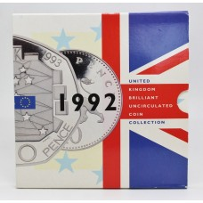 Royal Mint 1992 United Kingdom Brilliant Uncirculated Coin Collection with Rare Dual Date EC Presidency 50p Coin