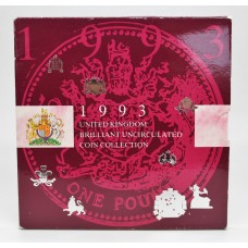 Royal Mint 1993 United Kingdom Brilliant Uncirculated Coin Collection with Rare Dual Date EC Presidency 50p Coin