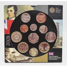 Royal Mint 2009 United Kingdom Brilliant Uncirculated Coin Collection with Rare Kew Gardens 50p Coin