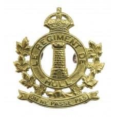 Canadian Le Regiment de Hull Cap Badge - King's Crown