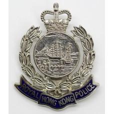 Royal Hong Kong Police Enamelled Cap Badge - Queen's Crown