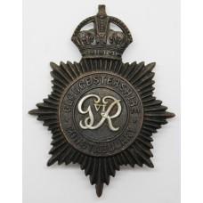 Gloucestershire Constabulary Night Helmet Plate GVIR - Kings Crown