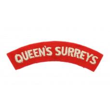 Queen's Royal Surrey Regiment (QUEEN'S SURREYS) Cloth Shoulder Title