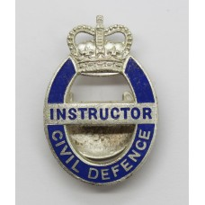 Civil Defence Instructor Enamelled Lapel Badge - Queen's Crown