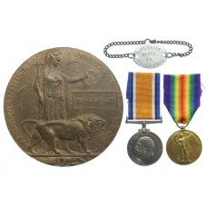 WW1 British War Medal, Victory Medal and Memorial Plaque - L.Cpl.