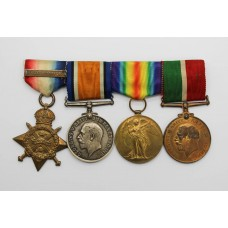 WW1 1914 Mons Star & Bar, British War Medal, Victory Medal & Mercantile Marine War Medal Group of Four - Dvr. W. Emery, Royal Artillery & Merchant Navy