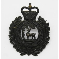 Berkshire Constabulary Black Wreath Helmet Plate - Queen's Crown