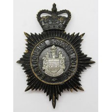 Eastbourne Borough Police Night Helmet Plate - Queen's Crown