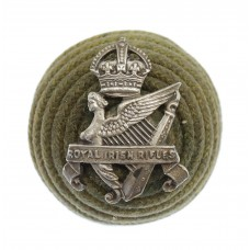 Royal Irish Rifles Officer's Green Cord Cap Boss Badge - King's Crown (c.1901-20)