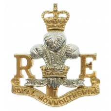 Royal Monmouthshire Royal Engineers Anodised (Staybrite) Cap Badg