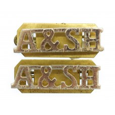 Pair of  Argyll & Sutherland Highlanders (A&SH) Anodised (Staybrite) Shoulder Titles