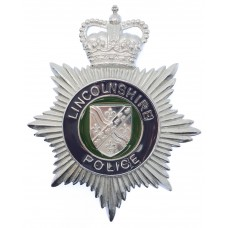 Lincolnshire Police Enamelled Helmet Plate - Queen's Crown