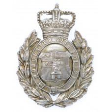 Worcester City Police Wreath Helmet Plate - Queen's Crown