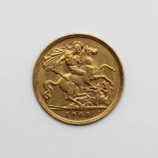 1905 Edward VII 22ct Gold Half Sovereign Coin