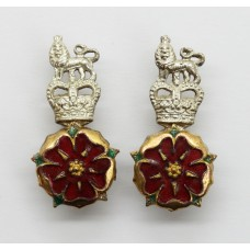 Pair of Loyal Regiment (North Lancashire) Officer's Mess Dress Collar Badges - Queen's Crown