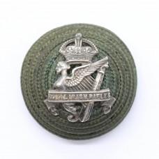 Royal Irish Rifles Officer's Green Cord Cap Boss Badge - King's Crown