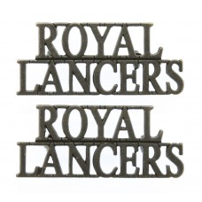 Pair of Royal Lancers (ROYAL/LANCERS) Officer's Bronzed Shoulder Titles