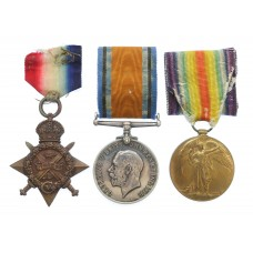 WW1 1914 Mons Star Prisoner of War Casualty Medal Trio - Pte. P. Cowell, 1st Bn. Northumberland Fusiliers - Died 26/08/1914 as a P.O.W.
