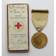WW1 British Red Cross Society Medal for War Service 1914-1918 in Box of Issue - Mrs Annie McIntyre