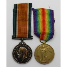 WW1 British War & Victory Medal Pair - Pte. C.T. Spearman, Ar