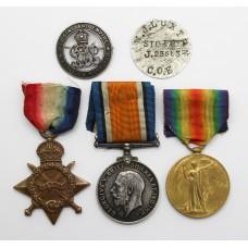WW1 1914-15 Star Medal Trio and Silver War Badge - Sig. W.J. Luxton, Royal Navy