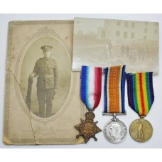 WW1 1914-15 Star Medal Trio - Pte. G. Davies, Notts & Derby Regiment (Sherwood Foresters) - Wounded