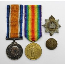 WW1 British War & Victory Medal Pair with Cap Badge & Button - Pte. T. Dewhurst, Devonshire Regiment