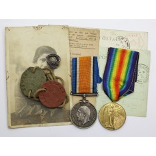 WW1 British War & Victory Medal Pair with Dog Tags and Postcards - Pte. E.J. Pratt, West Riding Regiment