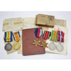 Parsons Family WW1 and WW2 Father & Son Medal Group