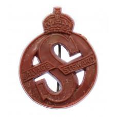Salvage Steward WW2 Red Plastic Lapel Badge