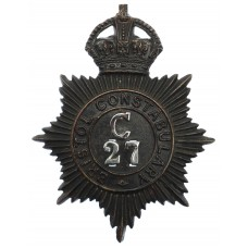 Bristol Constabulary Night Helmet Plate - King's Crown (C 27)