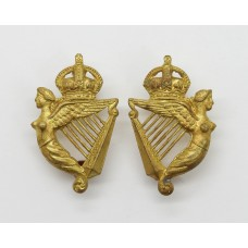 Pair of 5th Royal Irish Lancers Collar Badges - King's Crown