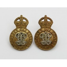 Pair of 7th Queen's Own Hussars Collar Badges - King's Crown