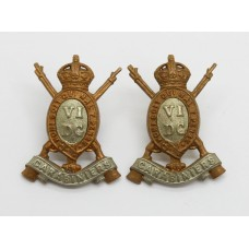 Pair of 6th Dragoon Guards (Carabiniers) Collar Badges - King's Crown