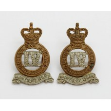Pair of 4th Queen's Own Hussars Collar Badges - Queen's Crown