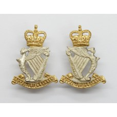 Pair of Royal Irish Rangers Officer's Collar Badges - Queen's Crown